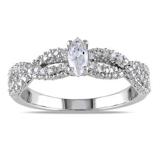 Miadora Sterling Silver 1/3ct TDW Marquise Braided Diamond Ring (G-H, I1-I2)