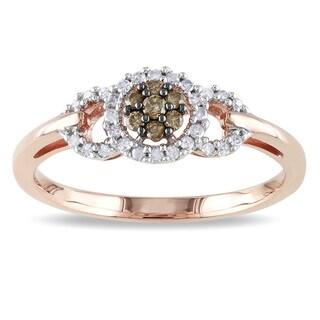 Miadora 10k Rose Gold 1/5ct TDW Brown and White Diamond Ring (I2-I3)