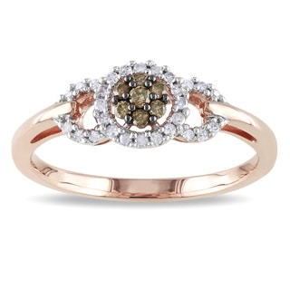 Miadora 10k Rose Gold 1/5ct TDW Brown and White Diamond Ring (I2-I3)