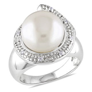 Miadora Sterling Silver Freshwater Pearl and White Topaz Ring (11-12 mm)