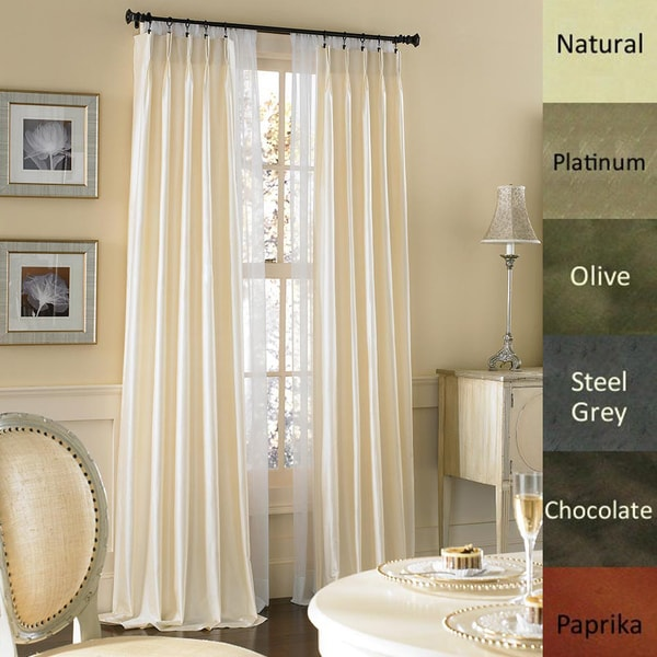 Dupioni Pure Silk-lined Pinch Pleat Curtain Panel