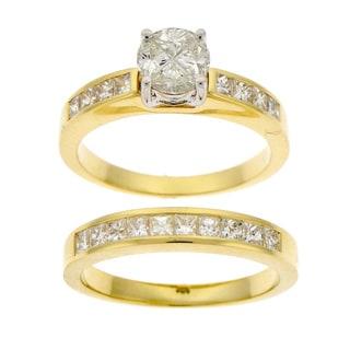 Beverly Hills Charm 14k Gold 1 2/5ct TDW Diamond Composite Bridal Ring Set (H-I, SI)