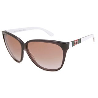Gucci Women's GG3539 Cat-Eye Gray-White/Brown Sunglasses
