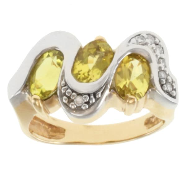 Michael Valitutti 14k Two-tone Gold Canary Tourmaline and Diamond Ring