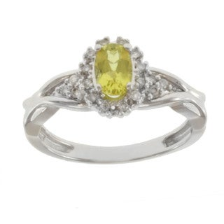 Michael Valitutti 14k White Gold Canary Tourmaline and Diamond Ring