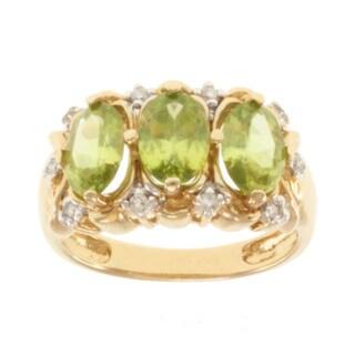 Michael Valitutti 14k Yellow Gold Green Titanite and Diamond Ring