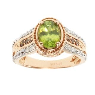 Michael Valitutti 14k Two-tone Gold Titanite and Diamond Ring