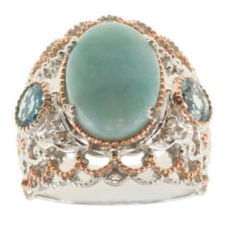 Michael Valitutti Two-tone Larimar, Swiss Blue Topaz and White Sapphire Ring