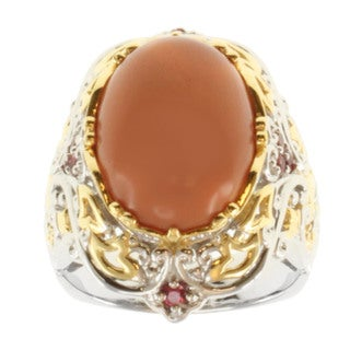 Michael Valitutti Two-tone Mexican Opal and Orange Sapphire Ring