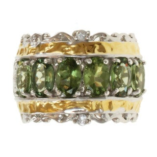 Michael Valitutti Two-tone Green Apatite and White Sapphire Ring