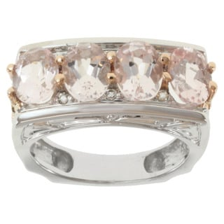 Michael Valitutti 14K Two-tone Gold Morganite and Diamond Band-style Ring
