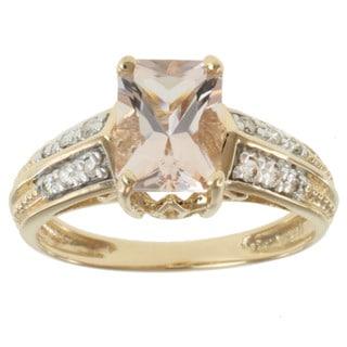 Michael Valitutti 14K Yellow Gold Radient-cut Morganite and Diamond Ring
