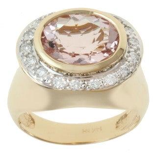 Michael Valitutti 14K Yellow Gold Oval-cut Morganite and Diamond Ring