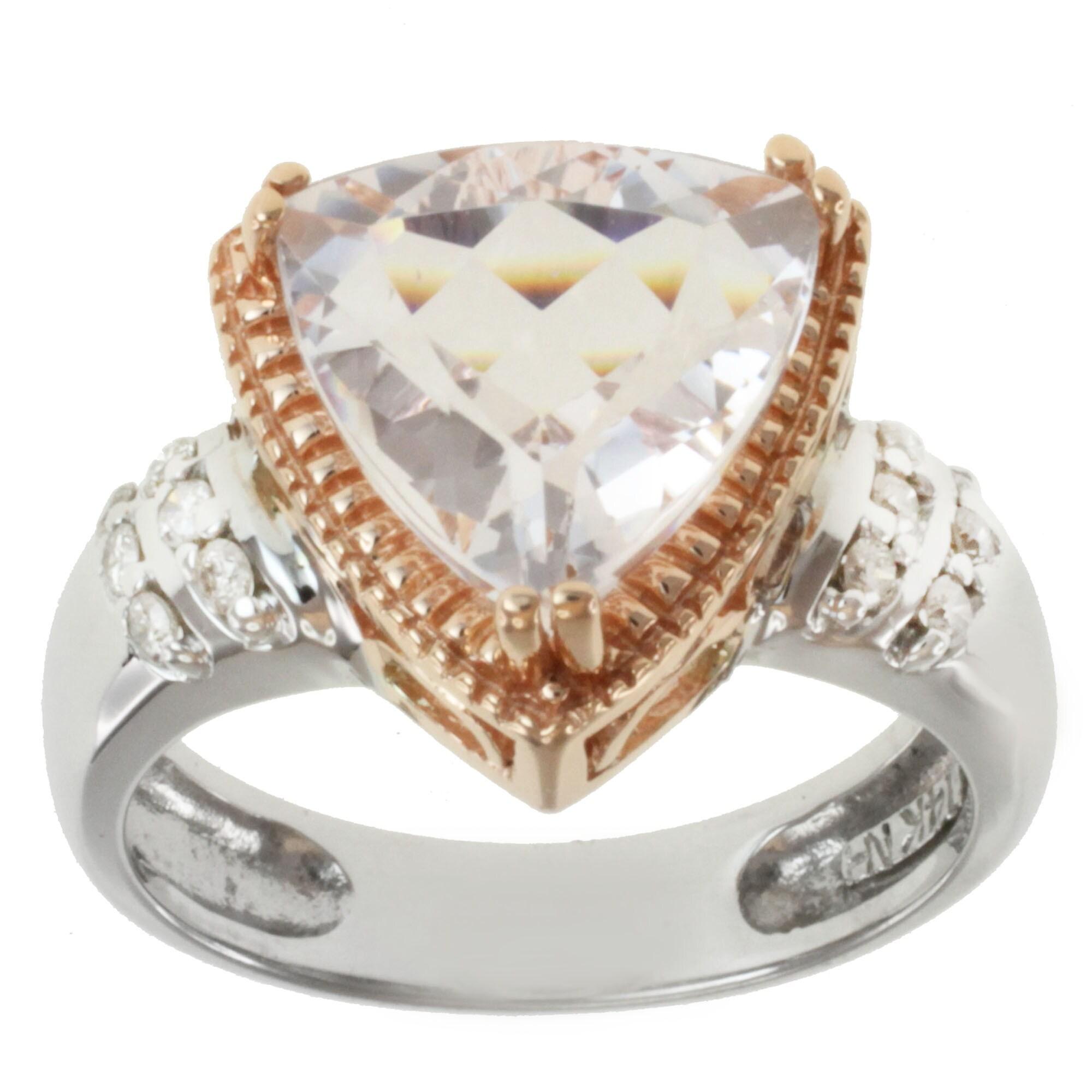 Michael Valitutti 14K Two-tone Gold Triangle-cut Morganite and Diamond Ring