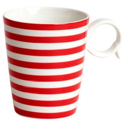 Red Vanilla 'Freshness' Red Striped Mugs (Set of 4)