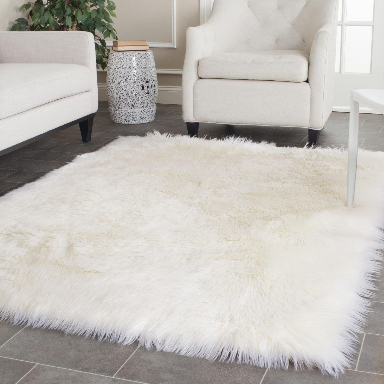 White Fluffy Living Room Rug