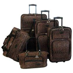 American Flyer Travelware Animal Print 5-Piece Luggage Set Leopard