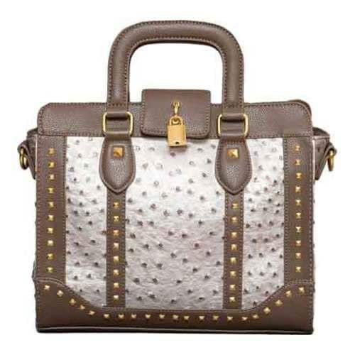 Women's Elise Hope Studded Ostrich Satchel Taupe