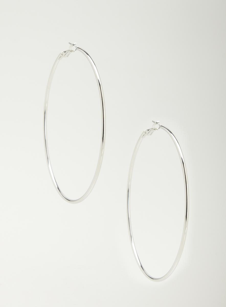 Andante Large Shiny Silver Hoop Earrings
