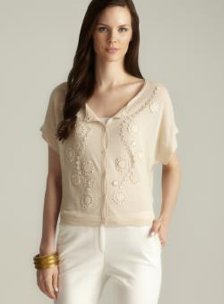 August Silk Floral Applique Button Down Cardigan
