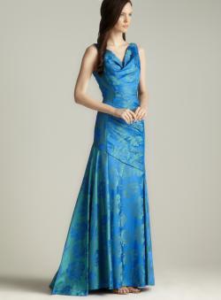 Theia Floral Taffeta Gown