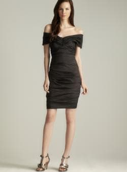 Theia Taffeta Off The Shoulder Dress
