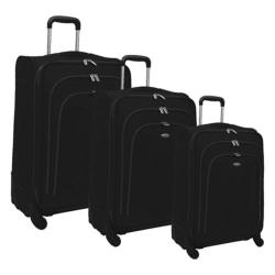 Olympia Luxe 3 Piece Luggage Set Black