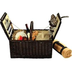 Picnic at Ascot Surrey Picnic Basket for Two with Blanket Brown Wicker/London Plaid