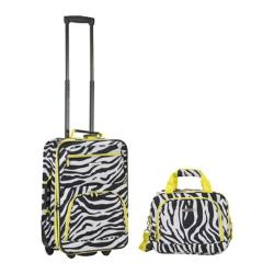 Rockland 2 Piece Luggage Set F102 Lime Zebra