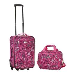 Rockland 2 Piece Luggage Set F102 Pink Bandana