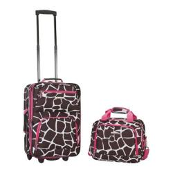 Rockland 2 Piece Luggage Set F102 Pink Giraffe