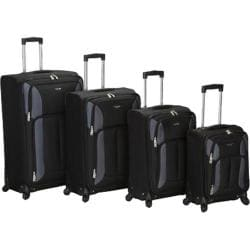 Rockland 4 Piece Impact Spinner Luggage Set F155 Black