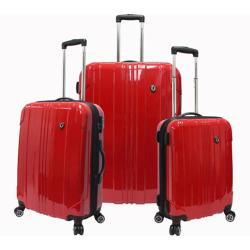 Traveler's Choice Sedona 3-Piece Expandable Spinner Luggage Set Red