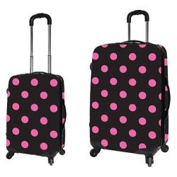 Travelers Club 2 Piece Expandable Hardside Luggage Set Pink Dot