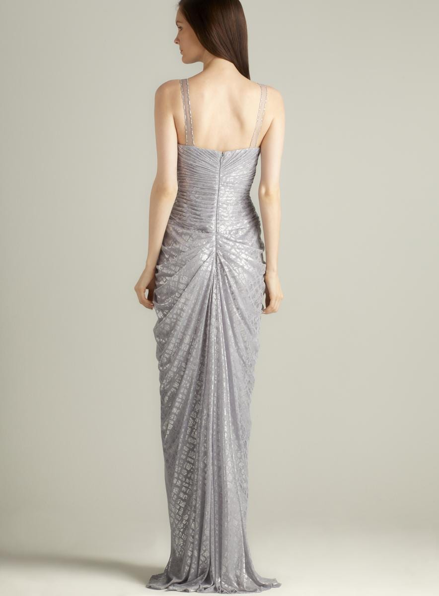Adrianna Papell Beaded Full Length Foil Gown