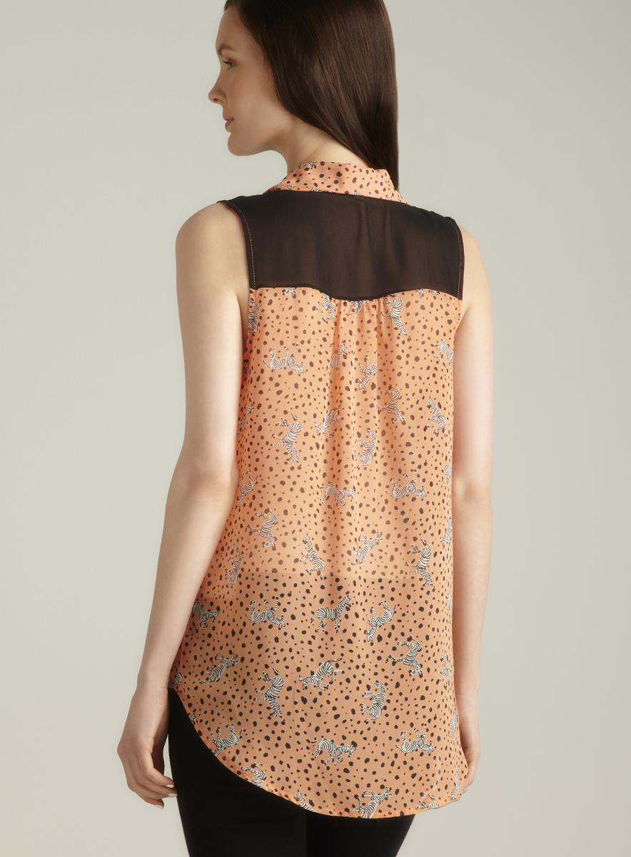 Lovemarks Hi-lo Sheer Printed Sleeveless Button Down