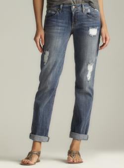 Fragile Distressed Cuffed Boyfriend Jean