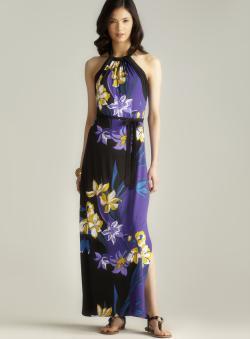 Carmen Marc Valvo Keyhole Back Floral Printed Belted Dress