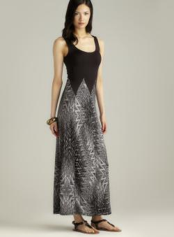 Stitch Printed Bottom Sleeveless Maxi Dress