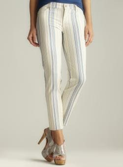 Two By Vince Camuto Multi Striped Ankle Zip Jean