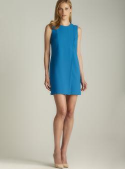 Calvin Klein Asymmetrical Pleated Scoop Neck Dress