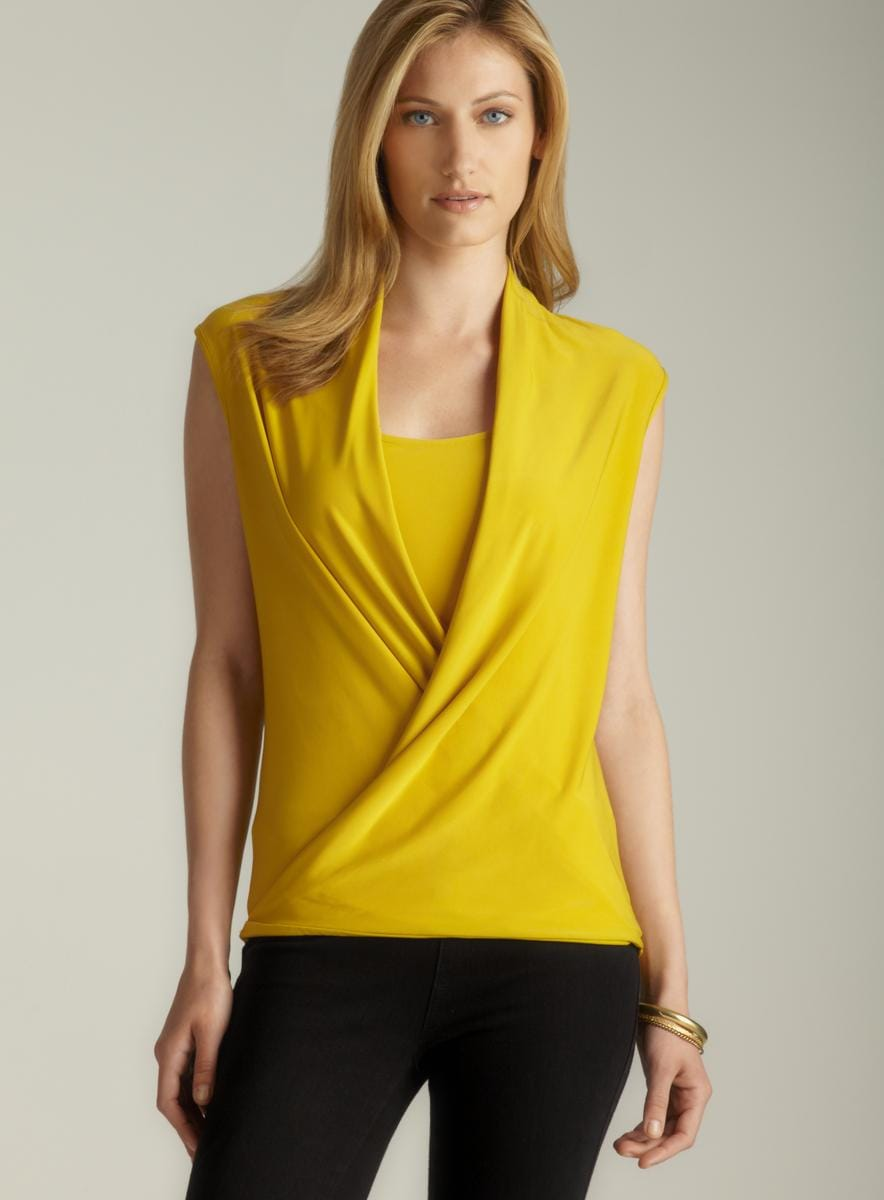 For Cynthia Gold Plunging Draped Neckline Blouse