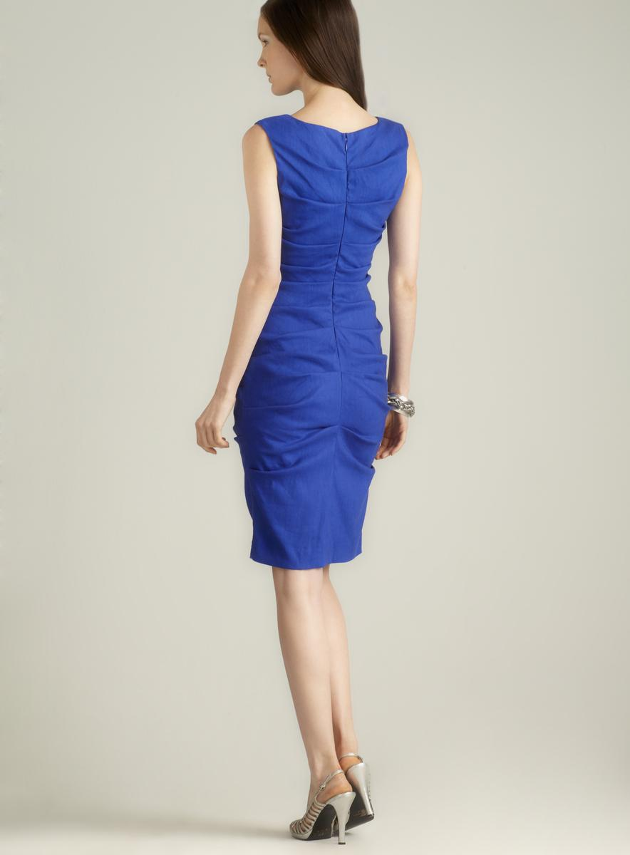 Nicole Miller Sleeveless Draped Linen Dress