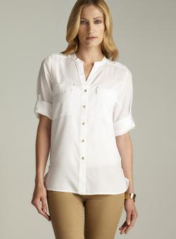 Calvin Klein White Tab Sleeve & Hem Button Down Top