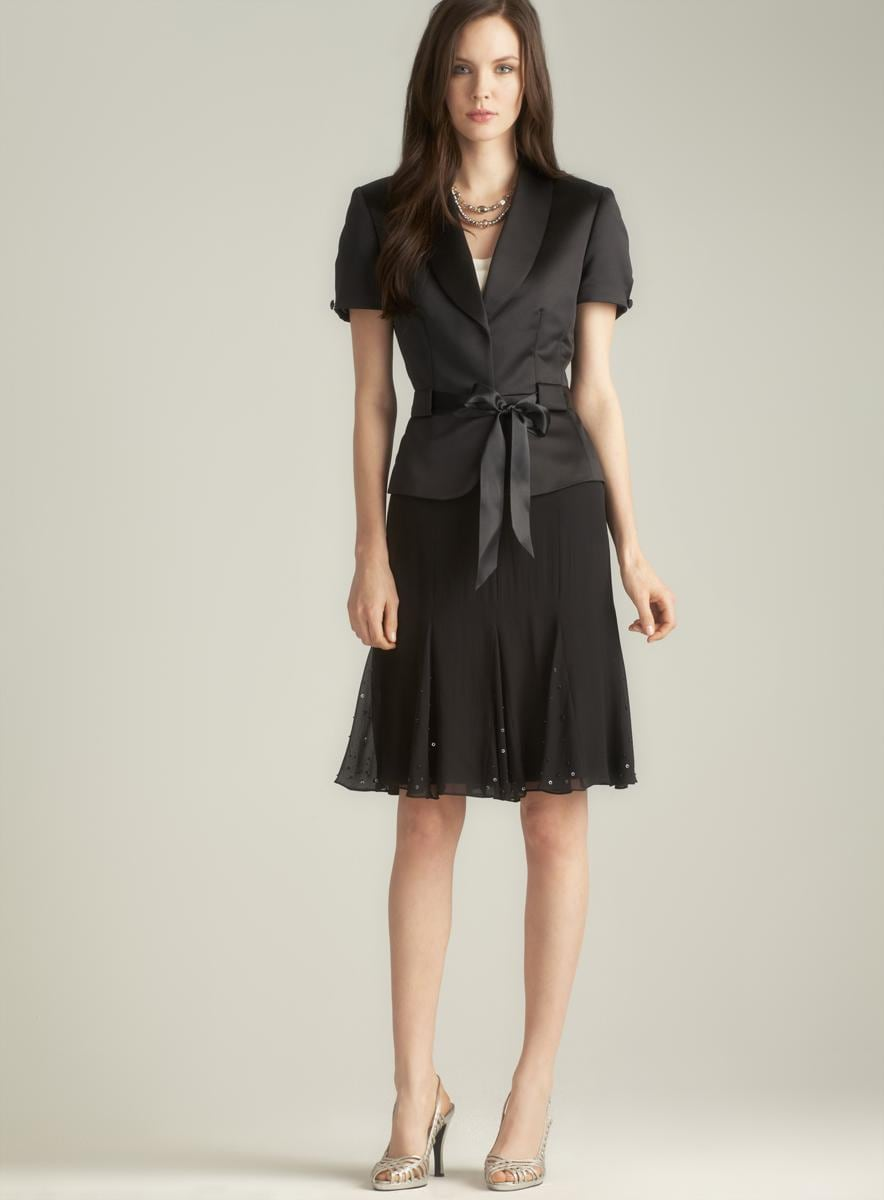 Tahari Satin Amp Chiffon Sequined Belted Skirt Suit