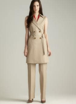Tahari Belted Long Two Button Pant Suit