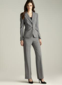 Tahari Mini Houndstooth Two Button Pant Suit