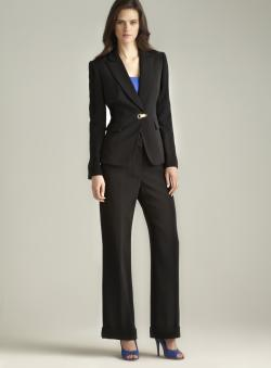 Tahari One Button Crepe Pant Suit