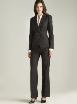 Tahari Two Button Pinstriped Pant Suit