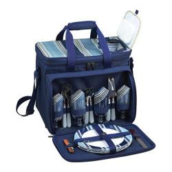 Picnic at Ascot Aegean Picnic Cooler for Four Blue/Blue Stripe